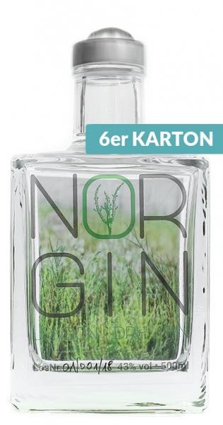 NorGin - Premium London Dry Gin, 500ml - 6 Glas-Flaschen