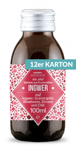 Organic Human - Organic Shot, Ingwer, 100ml (DE-ÖKO-003) - 12 Glas-Flaschen