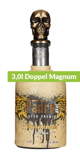 Padre Azul - Tequila Reposado, 3l Doppel Magnum - Flasche mit Ledermaske