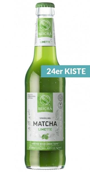 Seicha Matcha Drink - Limette, 330ml - 24 Glas-Flaschen