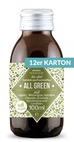 Organic Human - Organic Shot, All Green, 0.1l (DE-ÖKO-003) - 12 Glass Bottles