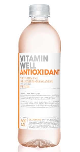 Vitamin Well - Antioxidant, Pfirsich, 500ml - PET-Flasche