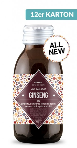 Organic Human - Organic Shot, Ginseng, 100ml - 12 Glas-Flaschen