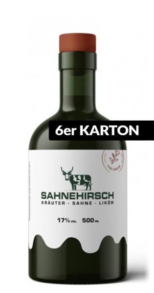 Sahnehirsch - Kräuter, Sahne, Likör, 500ml - 6 Glas-Flaschen