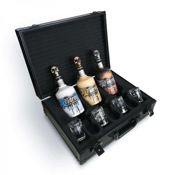 Padre Azul - Luxury Selection, 3 x 700ml + 4 x 2cl Gläser - schwarzer Präsentations-Koffer