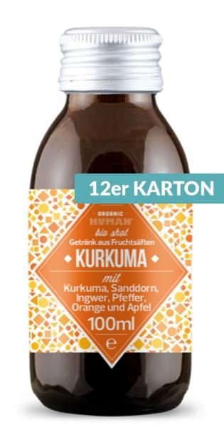 Organic Human - Organic Shot, Kurkuma, 100ml (DE-ÖKO-003) - 12 Glas-Flaschen