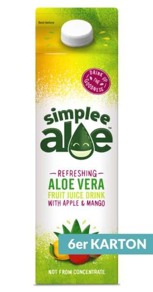 simplee Aloe - Aloe Vera Drink, Mango and Apple, 1l - 6 Tetra-Paks
