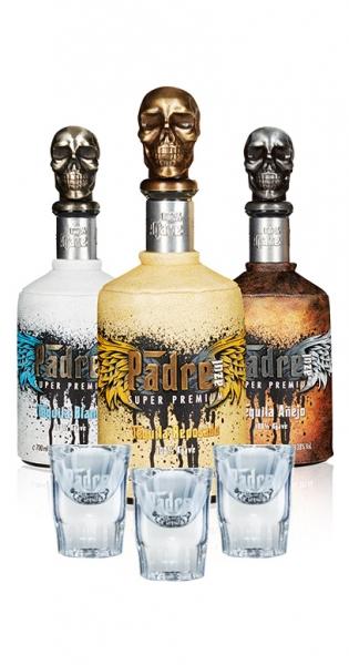 Tequila Bundle - Kaufe alle 3 Sorten Padre Azul (Anejo, Reposado, Blanco) und wir geben 3 Shot Gläse