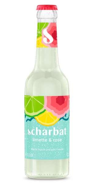 Scharbat Drink - Limette und Rose, 330ml - Glas-Flasche