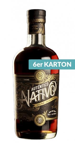 Auténtico Nativo - 20 Years old Rum, 700ml - 6 Glas-Flaschen