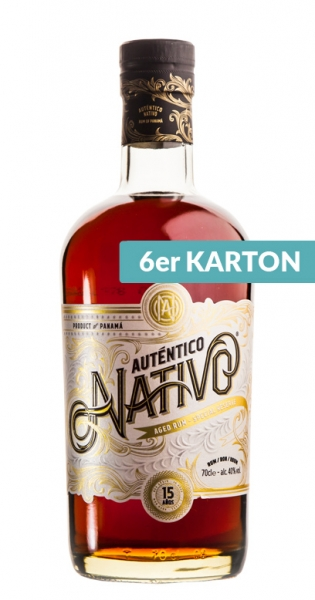 Auténtico Nativo - 15 Years old Rum, 0.7l - 6 Glass Bottles