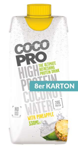 CocoPro - Coconut Water with Protein, Pineapple, 330ml - 8 Tetra-Paks