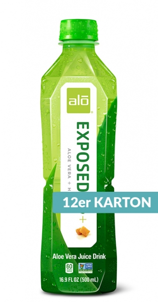 Alo - Aloe Vera Drink - Exposed, Aloe Vera mit Honig, 500ml - 12 PET-Flaschen