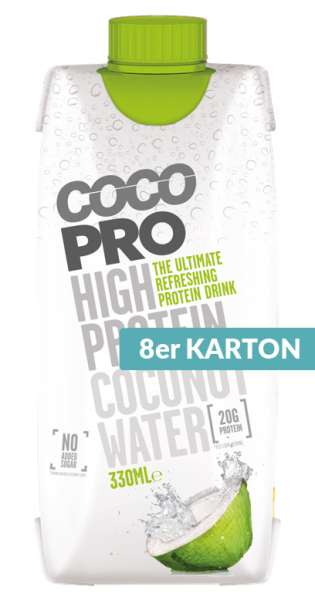CocoPro - Coconut Water with Protein, Pure, 330ml - 8 Tetra-Paks