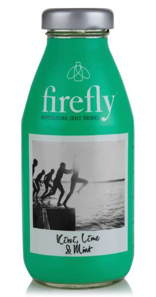 firefly - Revitalising Juice Drinks, Kiwi, Lime and Mint, 330ml - Glas-Flasche