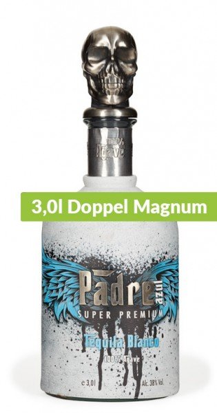 Padre Azul - Tequila Blanco, 3l Doppel Magnum - Flasche mit Ledermaske