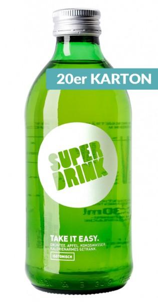 Superdrink - Take it Easy, isotonisch, Grüntee, Apfel, Kokoswasser, 330ml - 20 Glas-Flaschen