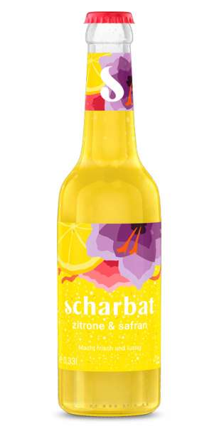 Scharbat Drink - Zitrone und Safran, 330ml - Glas-Flasche