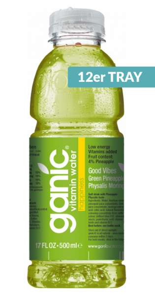 ganic Vitaminwater - Good Vibes, Pineapple, Kiwi, Physalis, 500ml - 12 PET-Flaschen