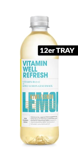 Vitamin Well - Refresh, Kiwi, Lemon, 500ml - 12 PET-Flaschen
