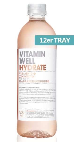 Vitamin Well - Hydrate, Erdbeer und Rhabarber, 500ml - 12 PET-Flaschen