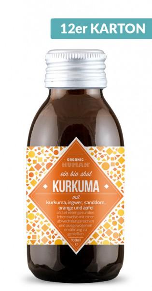 Organic Human - Organic Shot, Kurkuma, 100ml - 12 Glas-Flaschen