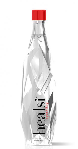 healsi Water - Diamant Flasche, crystal, sparkling, 850ml - Glas-Flasche