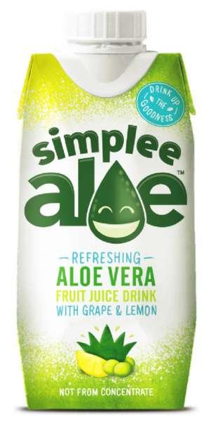 simplee Aloe - Aloe Vera Drink, Grape and Lemon, 330ml - Tetra-Pak