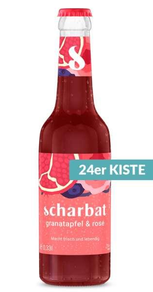 Scharbat Drink - Granatapfel und Rose, 330ml - 24 Glas-Flaschen