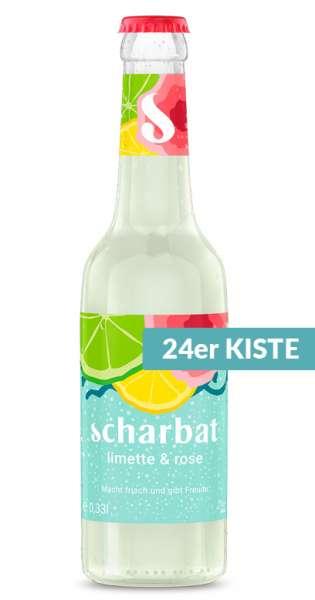 Scharbat Drink - Limette und Rose, 330ml - 24 Glas-Flaschen