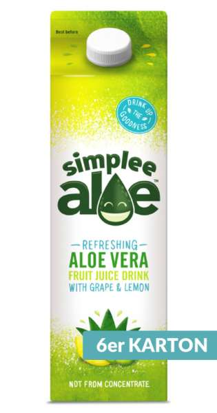 simplee Aloe - Aloe Vera Drink, Grape and Lemon, 1l - 6 Tetra-Paks