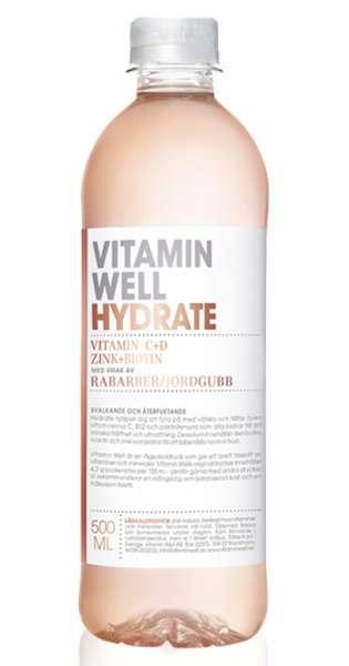Vitamin Well - Hydrate, Erdbeer und Rhabarber, 500ml - PET-Flasche