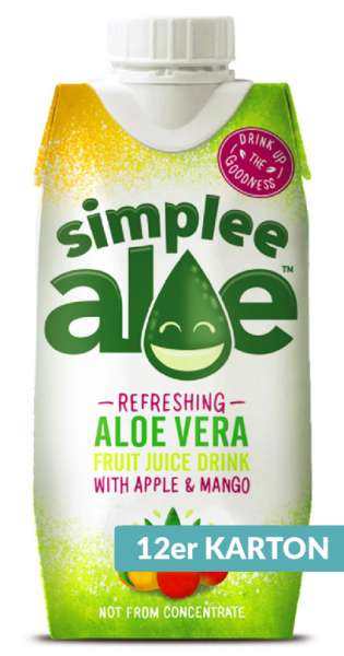 simplee Aloe - Aloe Vera Drink, Mango and Apple, 330ml - 12 Tetra-Paks