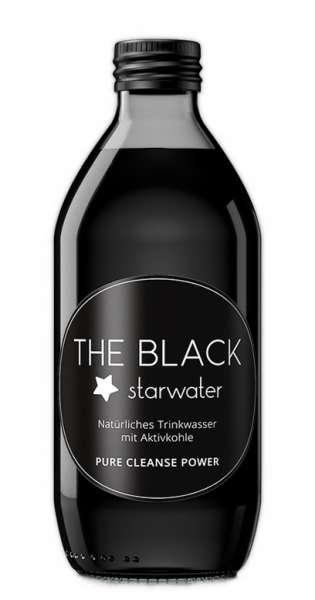 The Black Starwater - Wasser mit Aktivkohle, 0,33L - Glas-Flasche
