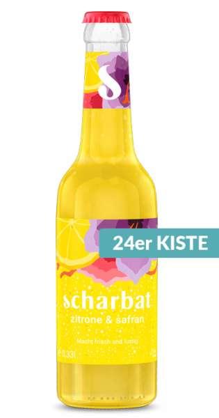 Scharbat Drink - Zitrone und Safran, 330ml - 24 Glas-Flaschen