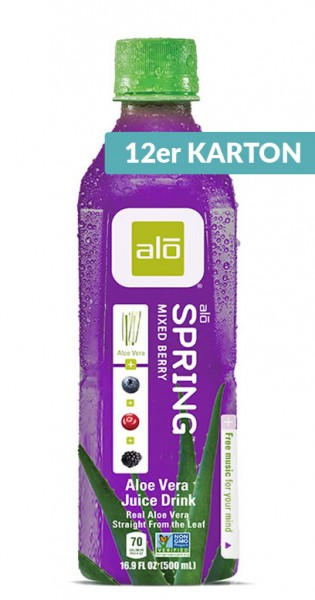 Alo - Aloe Vera Drink - Spring, Mixed Berries, 500ml - 12 PET-Flaschen