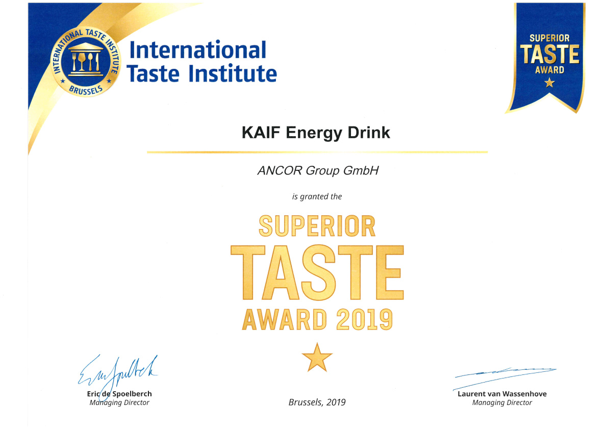 Kaif Energy Drink Black - Auszeichnung