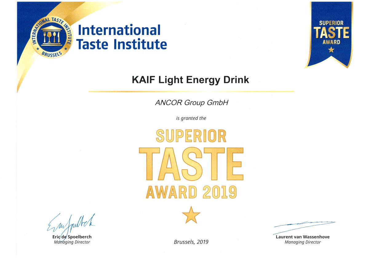 Kaif Energy Drink Light - Auszeichnung